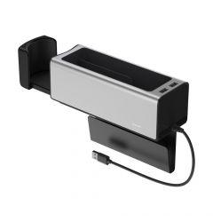 Organizator Auto 2 x USB + Suport Pahar Baseus Silver