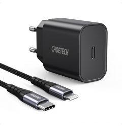 Incarcator Retea iPhone USB-C la Lightning Choetech Fast Charge PD 20W Negru