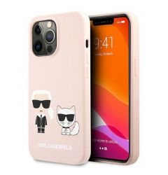Husa iPhone 13 Pro Karl Lagerfeld Silicon Karl & Choupette Roz Deschis