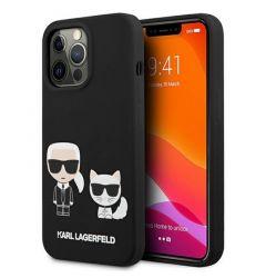 Husa iPhone 13 Pro Max Karl Lagerfeld Silicon Karl & Choupette Negru