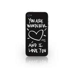 Folie iPhone 4/4S Lost Dog Design 3M Skin You Are Wonderfull & I Love You - Black (folie ecran inclu