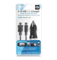 Incarcator Auto 2.1A iSound USB Negru (cablu microUSB si miniUSB)
