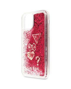 Husa iPhone 11 Pro Max Guess Hearts Glitter Rosu