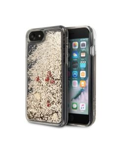Husa iPhone SE 2020 / 8 / 7 Guess Glitter Floating Hearts Auriu