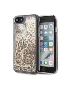 Husa iPhone SE 2020 / 8 / 7 Karl Lagerfeld Signature Glitter Auriu