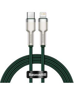 Cablu Type-C la Lightning Baseus Cafule Series Metal PD 20W Green (1m, impletitura nylon)