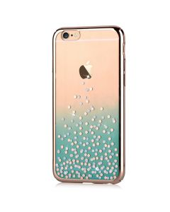 Carcasa iPhone 6/6S Comma Unique Polka Green (Cristale Swarovski, electroplacat, protectie 360)