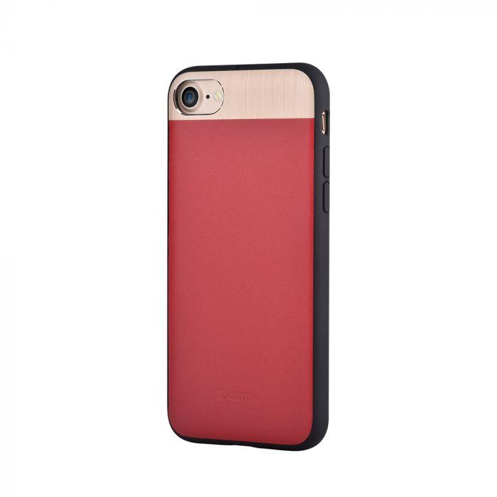 Carcasa iPhone 8 / 7 Comma Vivid Leather Red (piele naturala, aluminiu si margini flexibile)