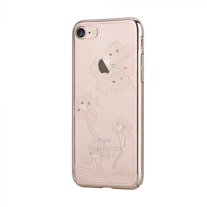 Carcasa iPhone 8 / 7 Comma Crystal Flora 360 Champagne Gold (Cristale Swarovski�, electroplacat, pro