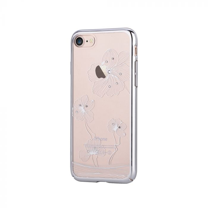 Carcasa iPhone 8 / 7 Comma Crystal Flora 360 Silver (Cristale Swarovski�, electroplacat, protectie 3