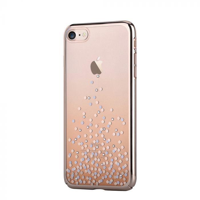 Carcasa iPhone 8 / 7 Comma Unique Polka Champagne Gold (Cristale Swarovski�, electroplacat, protecti