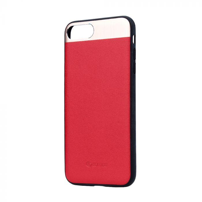 Carcasa iPhone 8 Plus / 7 Plus Comma Vivid Leather Red (piele naturala, aluminiu si margini flexibil