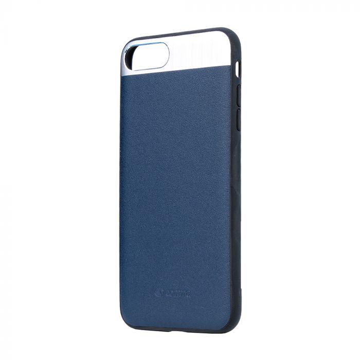 Carcasa iPhone 8 Plus / 7 Plus Comma Vivid Leather Blue (piele naturala, aluminiu si margini flexibi