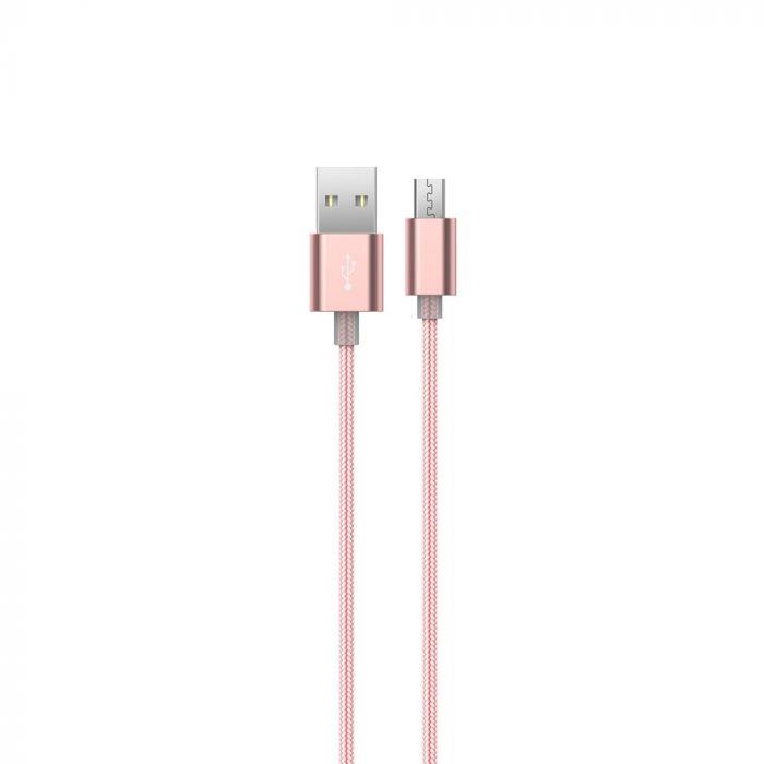 Cablu MicroUSB Devia Gracious Rose Gold (1.5m, impletitura textila)