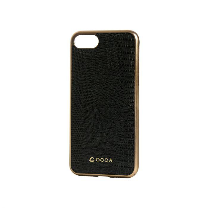 Carcasa iPhone 7 Occa Lizard Black (piele naturala, protectie margine 360�)