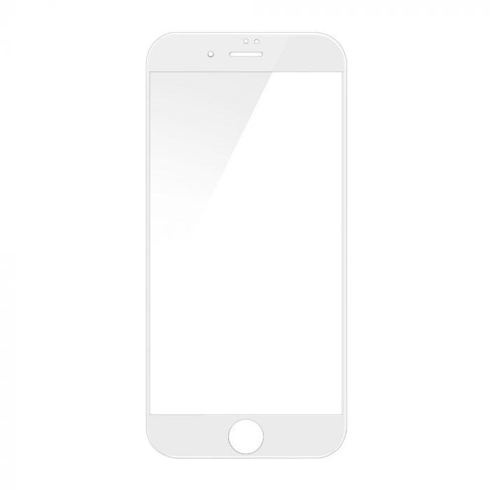 Folie iPhone 8 Plus / 7 Plus Devia Sticla Temperata 3D White (1 fata margini curbate + 1 spate Clear