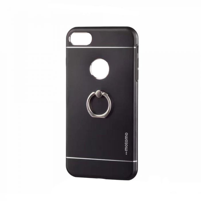 Carcasa iPhone 7 Motomo Metal Black (margini flexibile, inel stand atasat)
