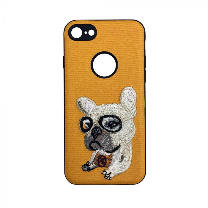 Carcasa iPhone 6/6S Lemontti Embroidery Orange Puppy