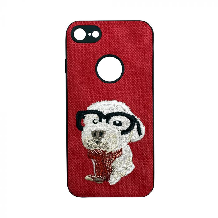 Carcasa iPhone 7 Lemontti Embroidery Red Puppy