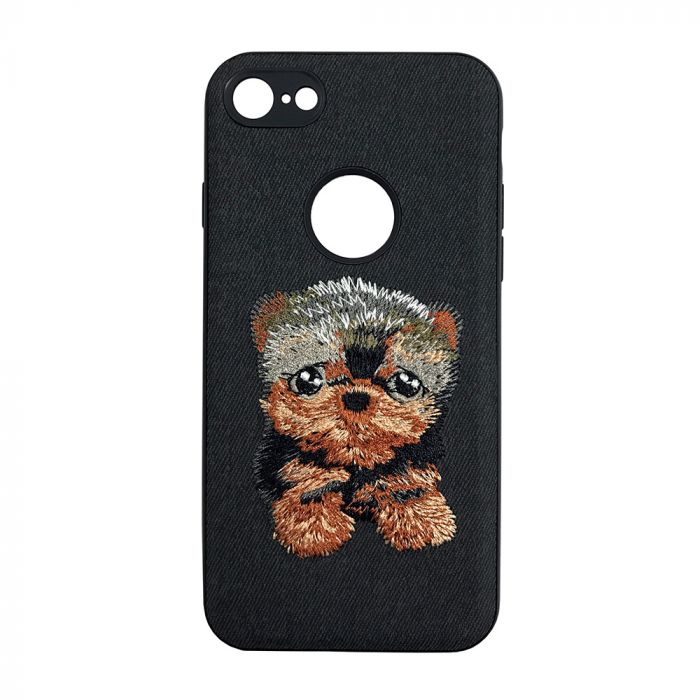 Carcasa iPhone 7 Lemontti Embroidery Black Puppy