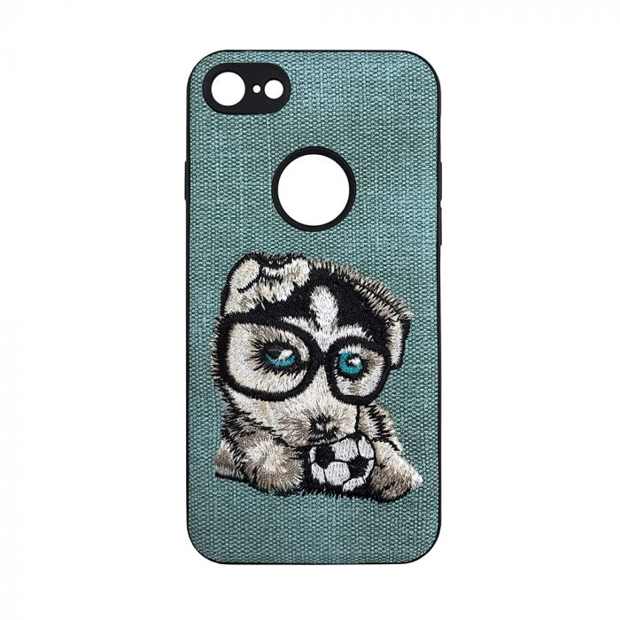 Carcasa iPhone 7 Lemontti Embroidery Gray Puppy