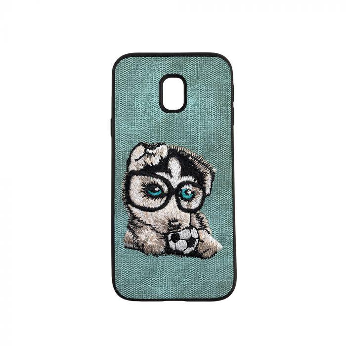 Carcasa Samsung Galaxy J3 (2017) Lemontti Embroidery Gray Puppy