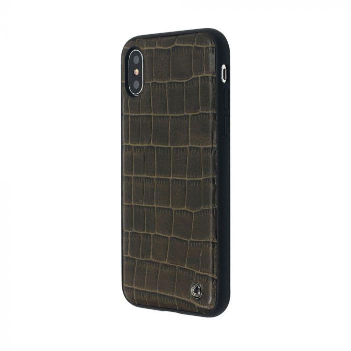 Carcasa iPhone X Occa Skin II Brown (piele naturala, textura croco, margini flexibile)