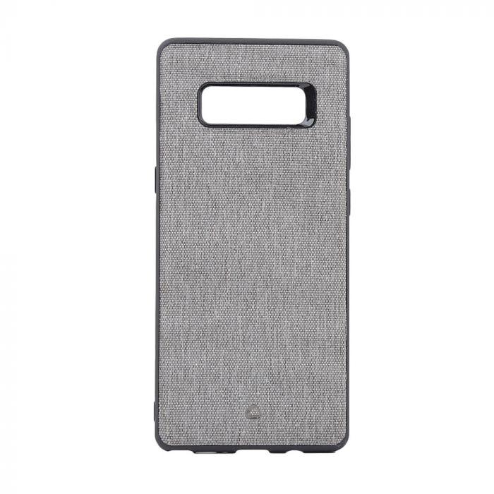 Carcasa Samsung Galaxy Note 8 Occa Linen Car Gray (margini flexibile, material textil, placuta metal