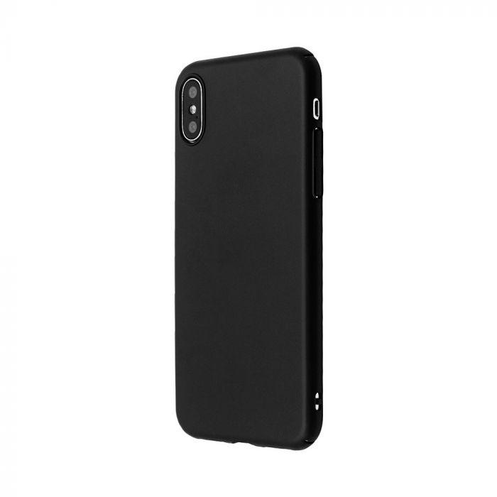 Carcasa iPhone X / XS  Just Must Uvo Black (material fin la atingere, slim fit)