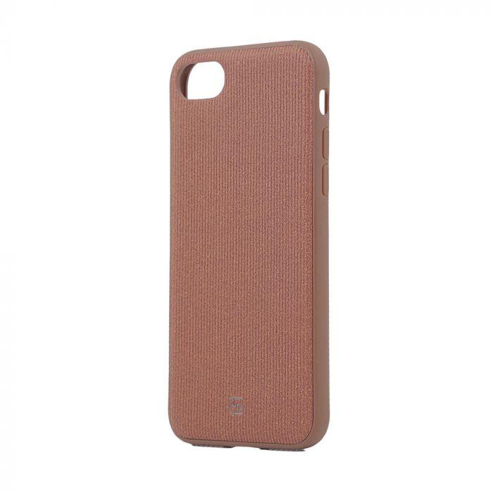 Carcasa iPhone 8 / 7 Just Must Pilot Brown (margini flexibile, placuta metalica integrata)