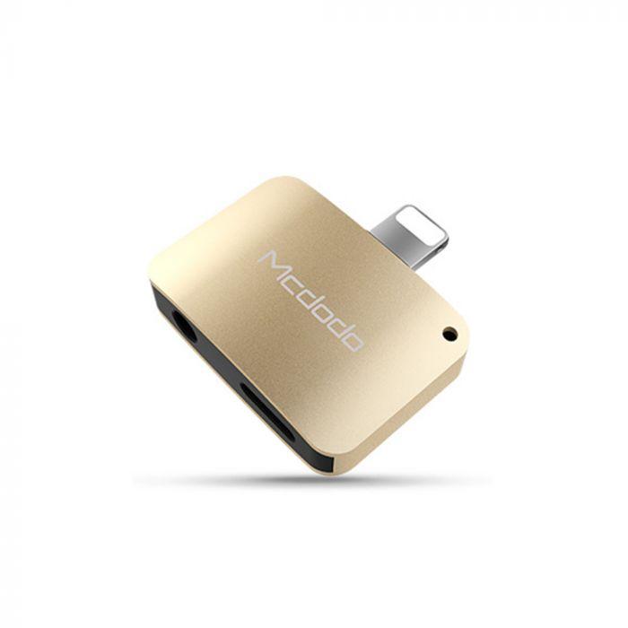 Adaptor Lightning la Jack 3.5 + Lightning Mcdodo Compact Gold (aluminiu, audio + incarcare)