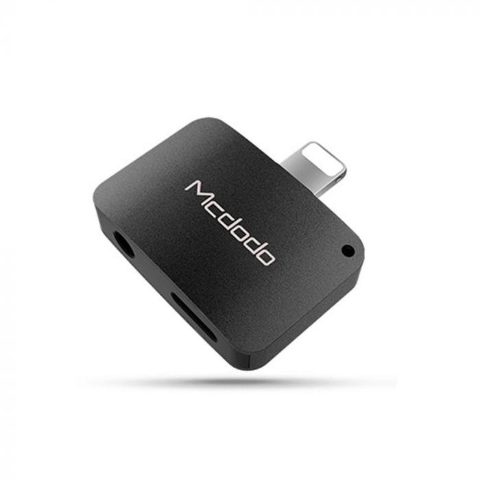 Adaptor Lightning la Jack 3.5 + Lightning Mcdodo Compact Black (aluminiu, audio + incarcare)