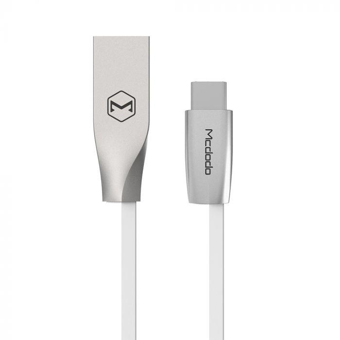 Cablu Type-C Mcdodo Zn-Link Silver White (2m, 2.4A max)