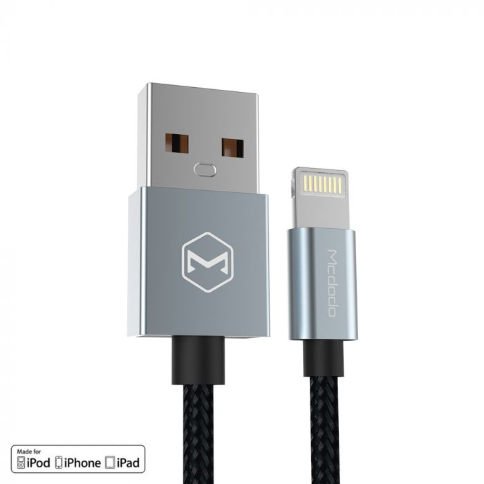 Cablu Lightning Mcdodo Bell MFI Grey (1.2m, impletitura nylon)