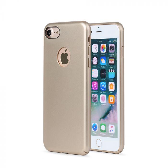 Carcasa iPhone 8 Meleovo 360 Shield Gold (culoare metalizata fina, captuseala din microfibra)