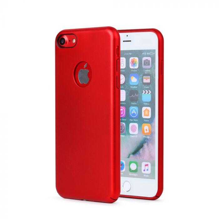 Carcasa iPhone 8 Meleovo 360 Shield Red (culoare metalizata fina, captuseala din microfibra)