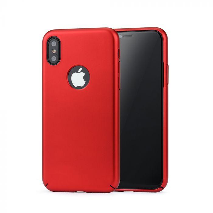Carcasa iPhone X Meleovo 360 Shield Red (culoare metalizata fina, captuseala din microfibra)