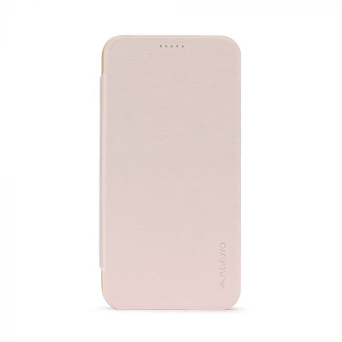 Husa Samsung Galaxy A5 (2017) Meleovo Smart Flip Gold (spate mat perlat si fata cu aspect metalic)