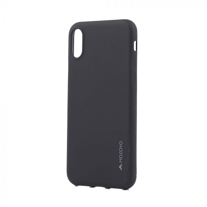 Husa iPhone X / XS Meleovo Silicon Soft Slim Black (aspect mat)