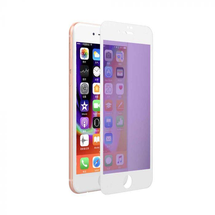 Folie iPhone 8 Plus / 7 Plus Devia Sticla Eagle Eye 2 Anti-BlueRay White (0.18mm, 9H, folie spate in