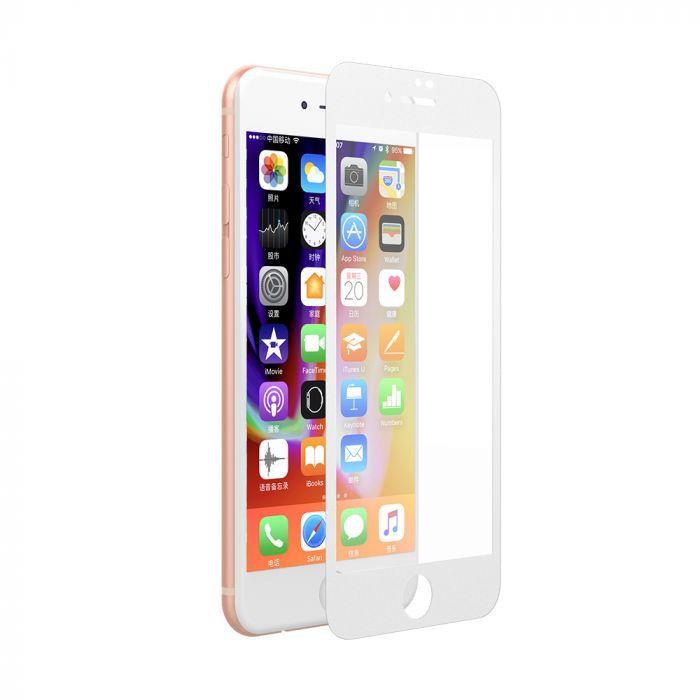 Folie iPhone 8 / 7 Devia Sticla Van Full White (0.26mm, 9H, folie spate inclusa)