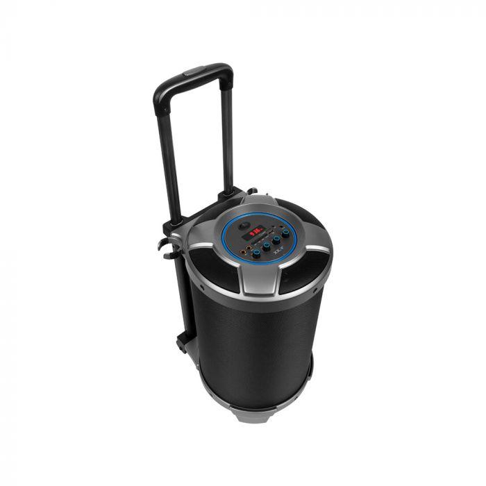 Boxa XX.Y Boombard Black (radio FM, input jack 3.5mm si 6.3mm, cu roti si maner telescopic)