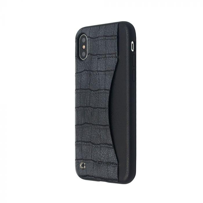 Carcasa iPhone X Occa Conn II Black (margini cauciucate si slot card vertical)