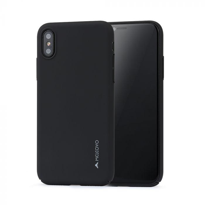 Carcasa iPhone X / XS Meleovo Metallic Slim 360 Black (culoare metalizata fina)