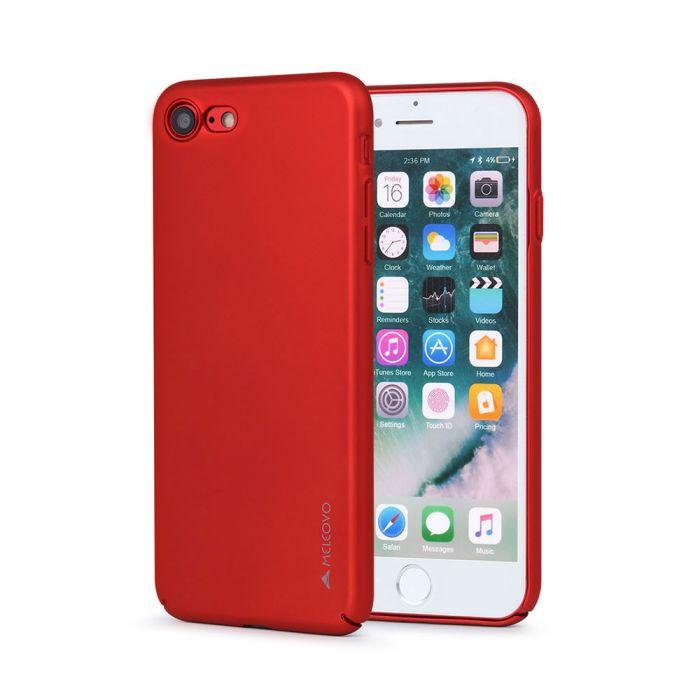 Carcasa iPhone 8 / 7 Meleovo Metallic Slim 360 Red (culoare metalizata fina)