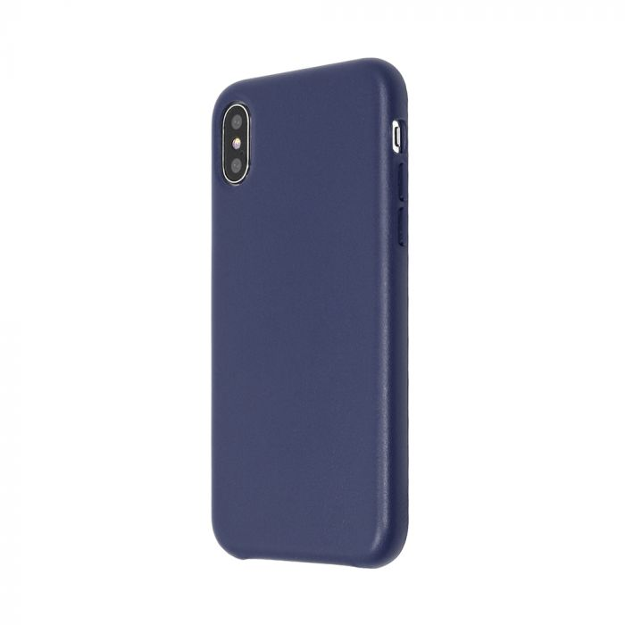 Carcasa iPhone X Just Must Origin Leather Midnight Blue (piele naturala)