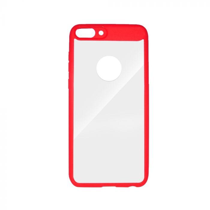 Carcasa Huawei P Smart Just Must Pure III Red (spate transparent cu margini cauciucate)