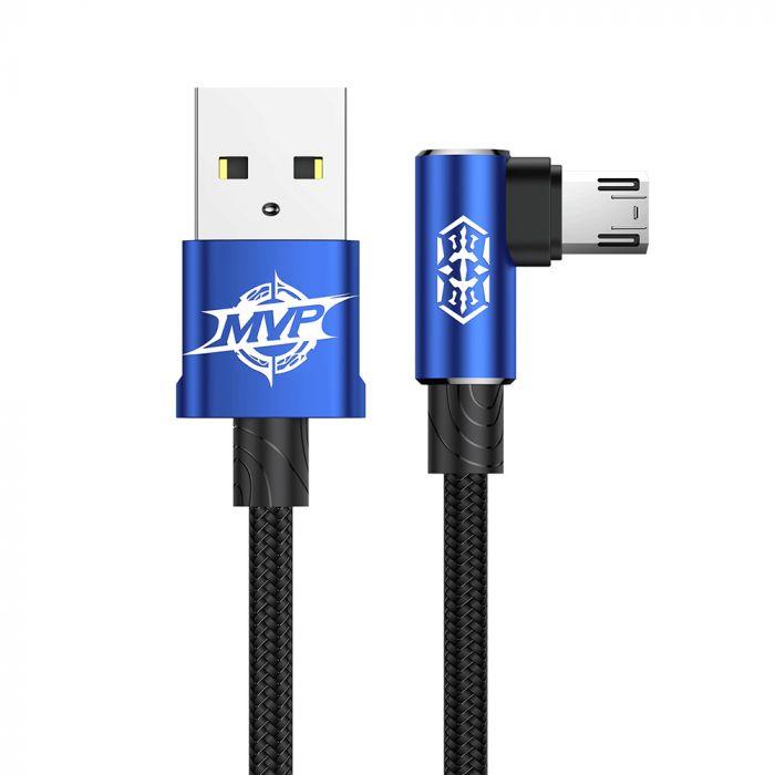 Cablu MicroUSB Baseus MVP Elbow USB Blue (2m, output 1.5A, unghi 90, impletitura nylon)