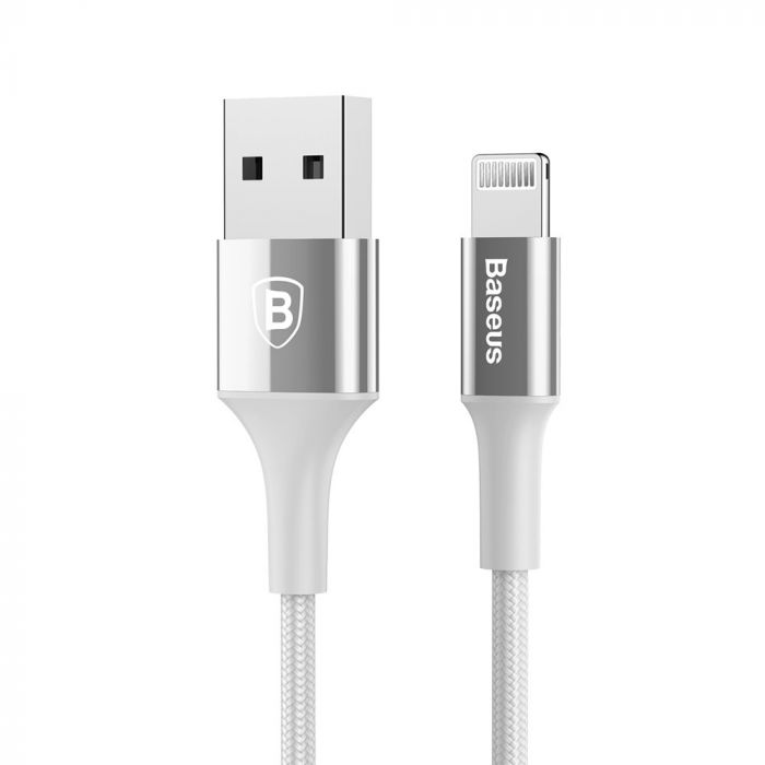 Cablu Lightning Baseus Shining USB with Jet Metal Silver (1m, output 2A, impletitura textila)