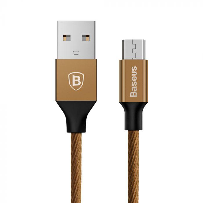 Cablu USB la MicroUSB Baseus Yiven Coffee (1m, output 2A, impletitura textila)